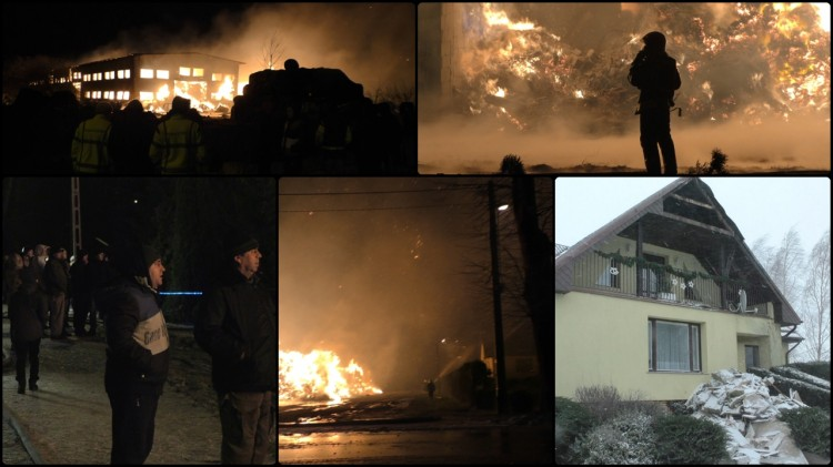Potężny pożar w Kościeleczkach. Wiatr przeniósł ogień na sąsiedni dom. – 04.01.2017