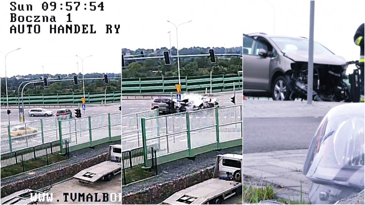 Po zderzeniu silnik przeleciał kilkadziesiąt metrów. 5 sekund wcześniej przez pasy przejechał rowerzysta. Wypadek w Malborku na skrzyżowaniu DK 22 i 55 - zobacz wideo – 10.09.2017