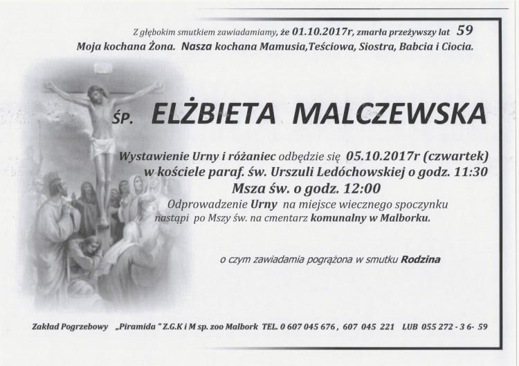 Zmarła Elżbieta Malczewska. Żyła 59 lat.