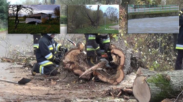 Nagranie łamiącego się drzewa, iskry na przewodach, podniesiony stan wody i zerwane dachy. Zobacz to na Wideo! Cyklon Grzegorz. - 29.10.2017