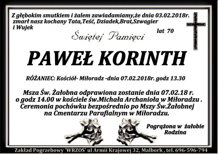 Zmarł Paweł Korinth. Żył 70 lat