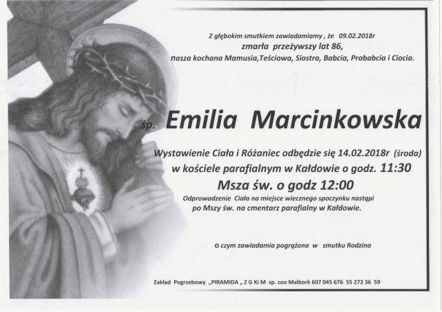 Zmarła Emilia Marcinkowska. Żyła 86 lat.