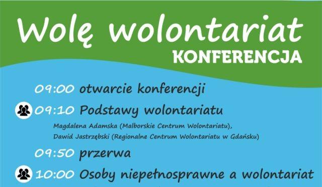 """Malbork : Zapraszamy na konferencję """"Wolę wolontariat"""" - 14.03.2018"""