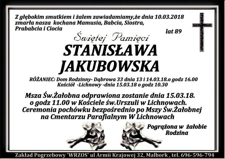 Zmarła Stanisława Jakubowska. Żyła 89 lat