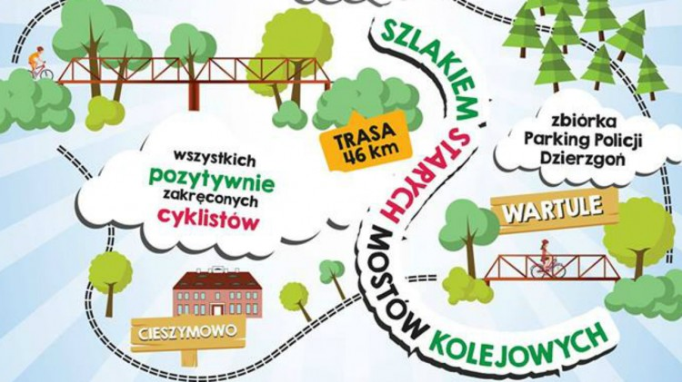 """Zapraszamy pozytywnie zakręconych cyklistów na Rajd Rowerowy """"Szlakiem Starych Mostów Kolejowych"""""""