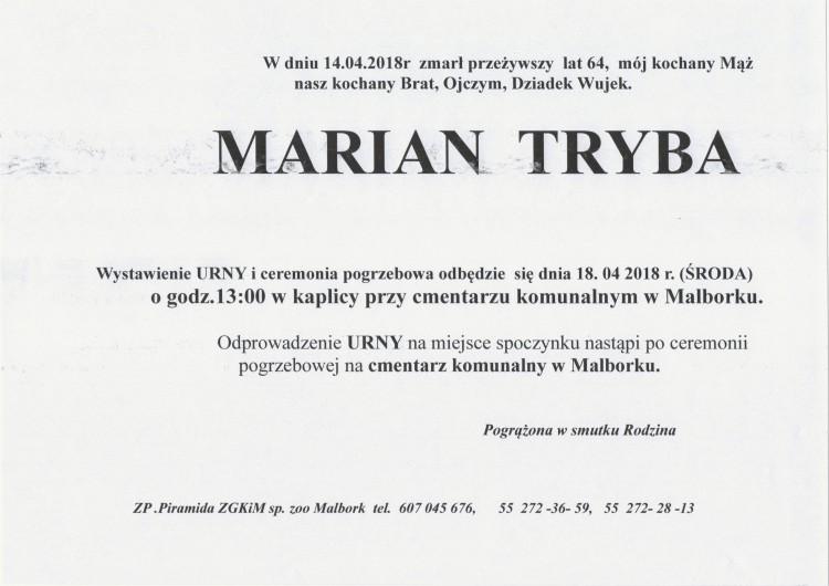 Zmarł Marian Tryba. Żył 64 lat