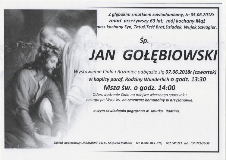 Zmarł Jan Gołębiowski. Żył 63 lata.