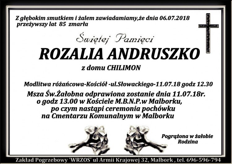 Zmarła Rozalia Andruszko. Żyła 85 lat
