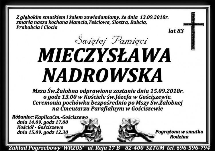 Zmarła Mieczysława Nadrowska. Żyła 83 lata.