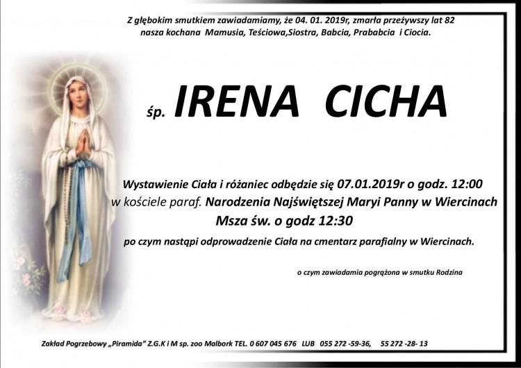 Zmarła Irena Cicha. Żyła 82 lata.