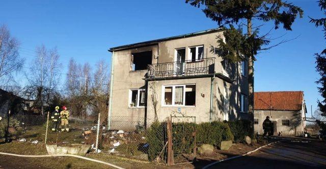 Pożar domu jednorodzinnego w Koszwałach.