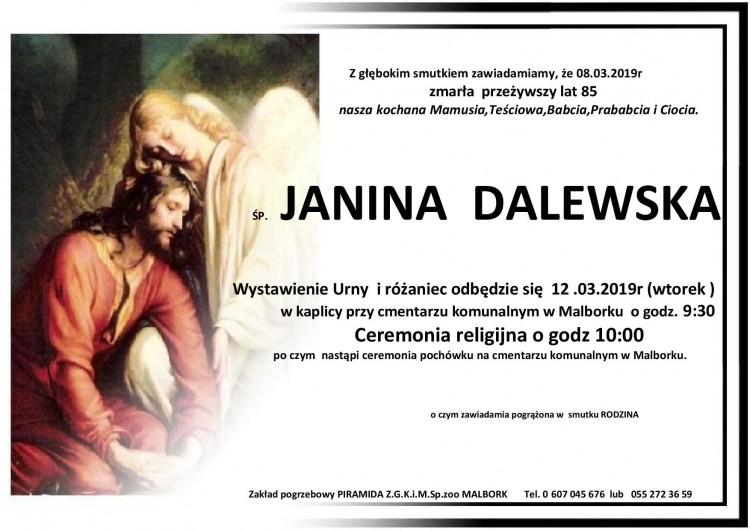 Zmarła Janina Dalewska. Żyła 85 lat.