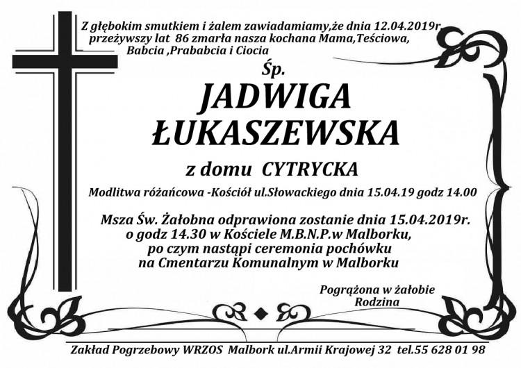Zmarła Jadwiga Łukaszewska. Żyła 86 lat