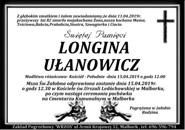 Zmarła Longina Ułanowicz. Żyła 82 lata