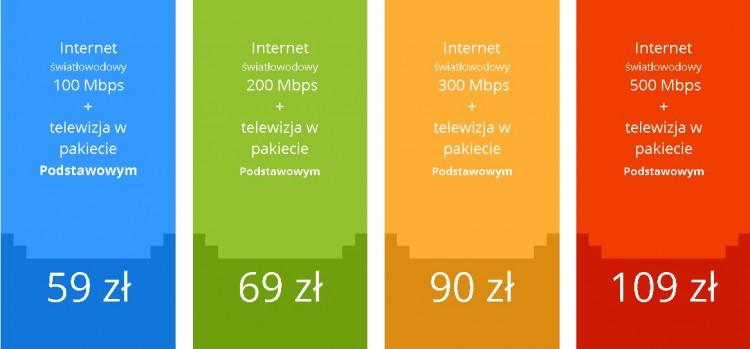 Nowe Pakiety z kanałami HD i 4K z internetem światłowodowym 100 MB/s, 200 MB/s, 300 MB/s i 500 MB/s.