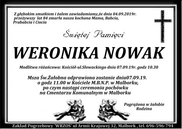 Zmarła Weronika Nowak. Żyła 84 lata
