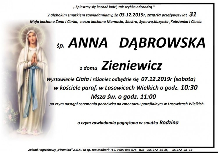 Zmarła Anna Dąbrowska. Żyła 31 lat.