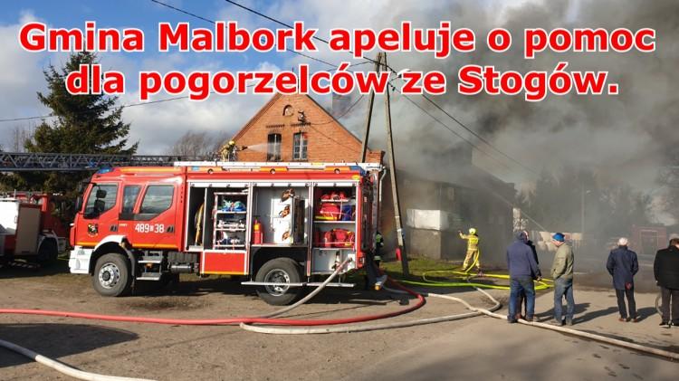 Gmina Malbork apeluje o pomoc dla pogorzelców ze Stogów.
