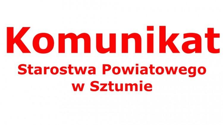 Zmiany organizacji pracy Starostwa Powiatowego w Sztumie.