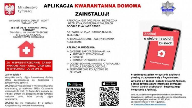 """Od 1 kwietnia br. aplikacja """"Kwarantanna domowa"""" jest obowiązkowa."""