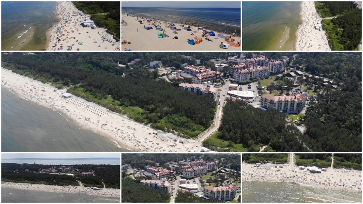 Krynica Morska plaża z lotu ptaka