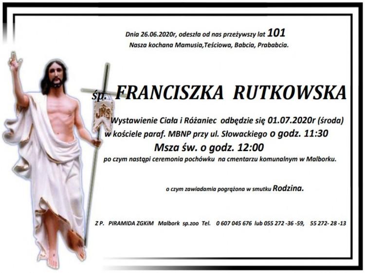 Zmarła Franciszka Rutkowska. Żyła 101 lat.