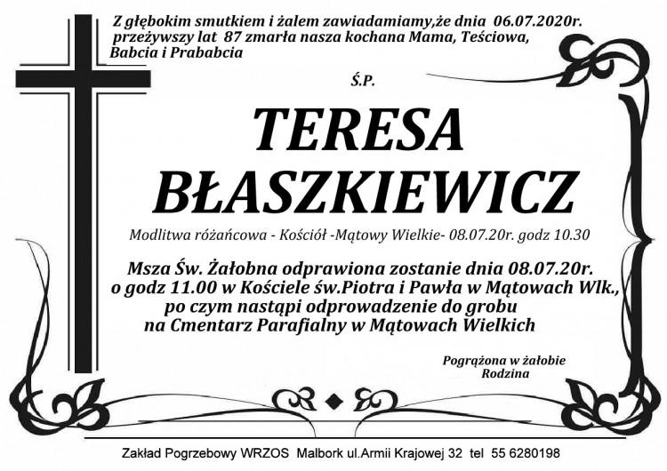 Zmarła Teresa Błaszkiewicz. Żyła 87 lat.