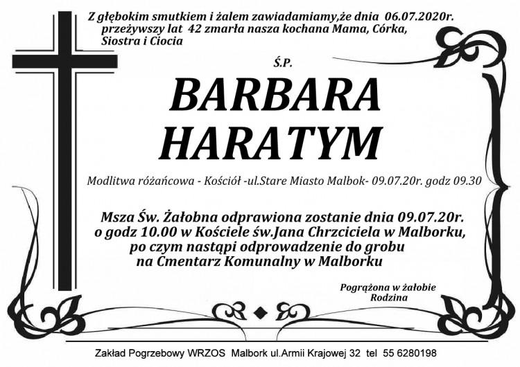 Zmarła Barbara Haratym. Żyła 42 lata.