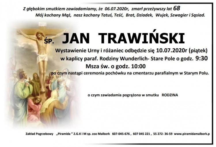 Zmarł Jan Trawiński. Żył 68 lat.