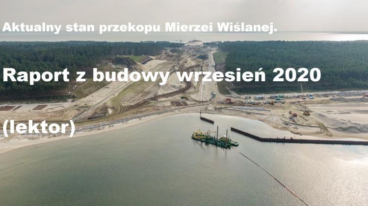 Wrzesień 2020 na budowie drogi wodnej łączącej Zalew Wiślany z Zatoką Gdańską