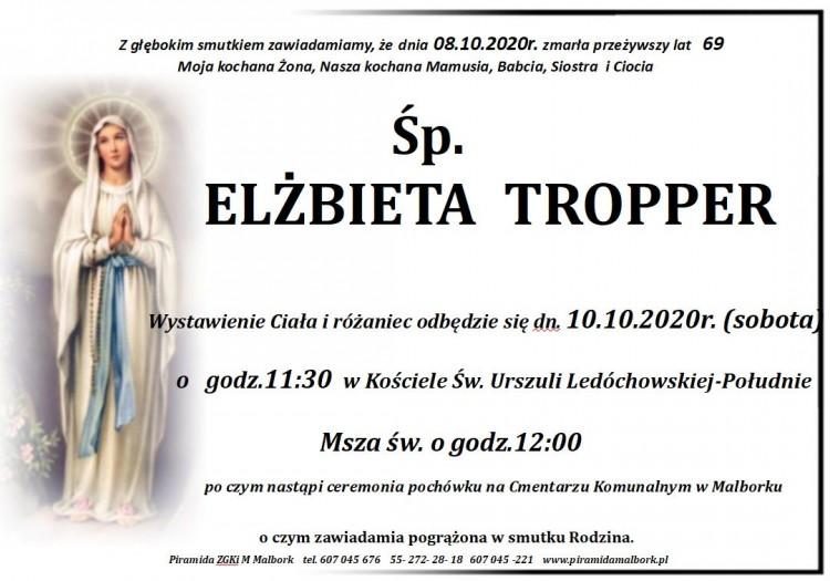 Zmarła Elżbieta Tropper. Żyła 69 lat.