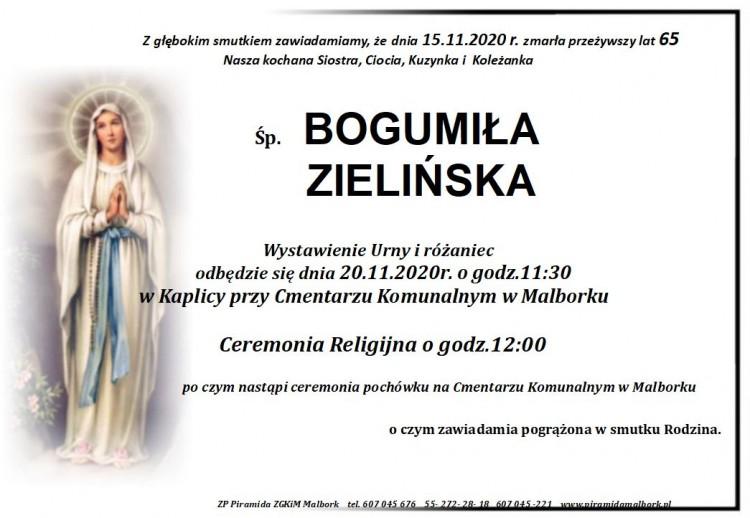 Zmarła Bogumiła Zielińska. Żyła 65 lat.