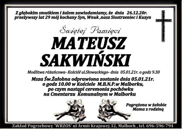 Zmarł Mateusz Sakwiński. Żył 29 lat.