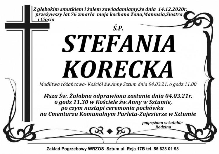 Zmarła Stefania Korecka. Żyła 76 lat.