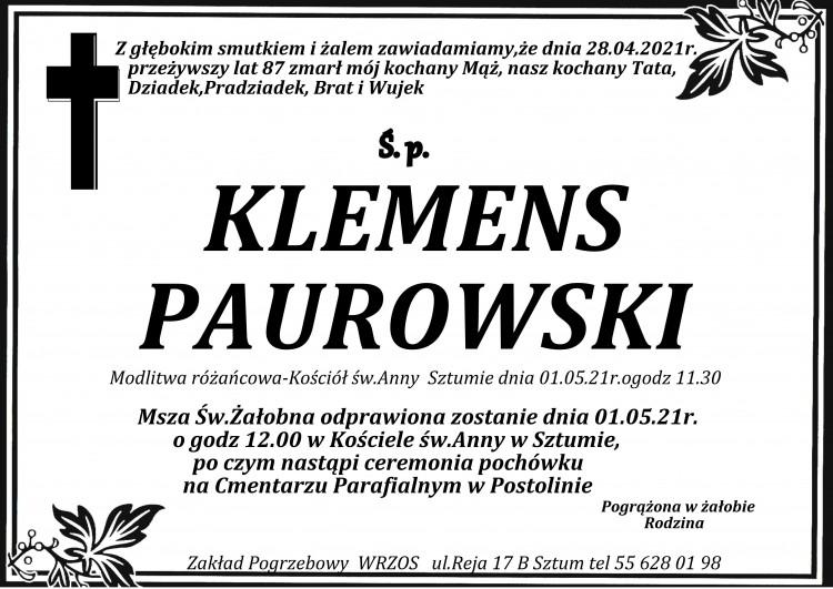 Zmarł Klemens Paurowski. Żył 87 lat.