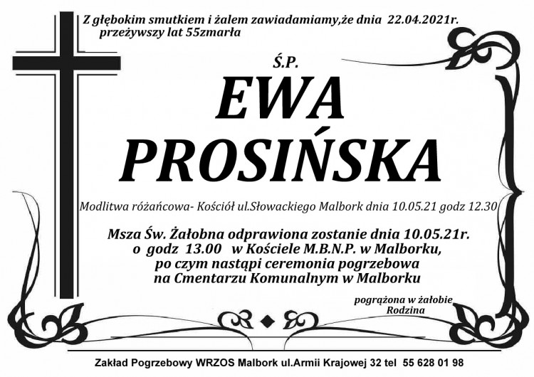 Zmarła Ewa Prosińska. Żyła 55 lat.