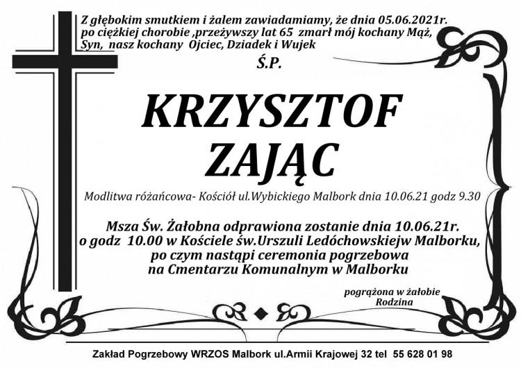 Zmarł Krzysztof Zając. Żył 65 lat.