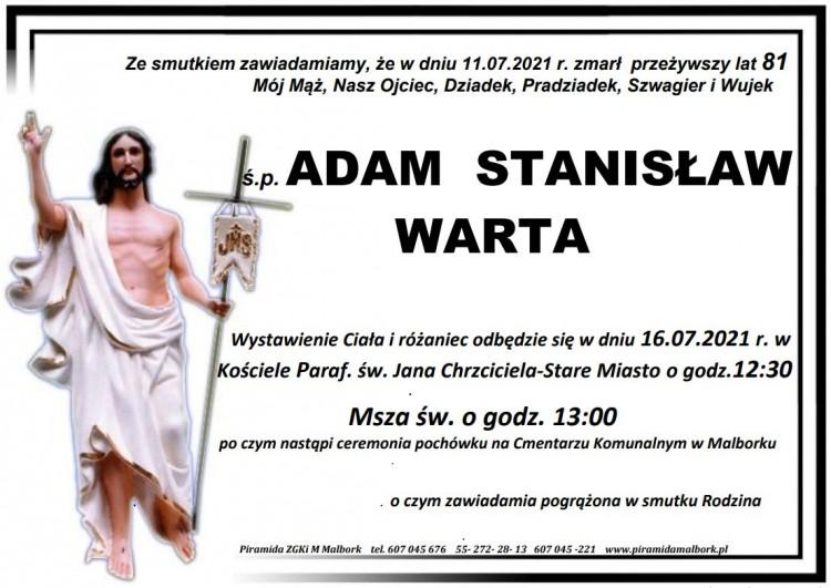 Zmarł Adam Stanisław Warta. Żył 81 lat.