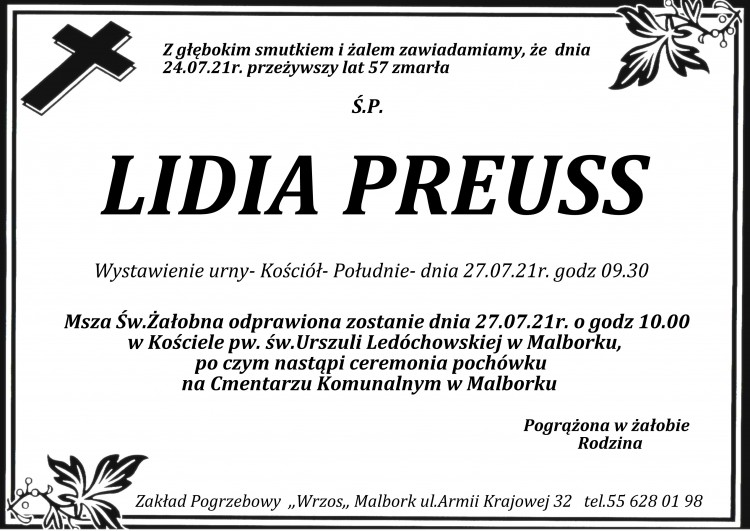 Zmarła Lidia Preuss. Żyła 57 lat.
