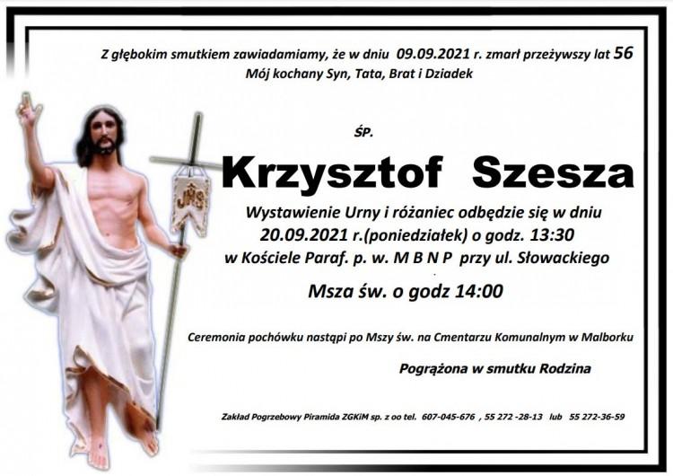 Zmarł Krzysztof Szesza. Żył 56 lat.