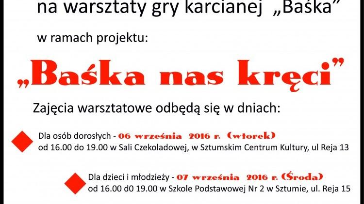 """Warsztaty gry karcianej """"Baśka"""" w Sztumie – 06-07.09.2016"""