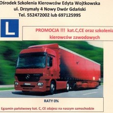 PROMOCJA !!! Kurs na prawo jazdy kat.A,B,BE,C,CE,D oraz szkolenia kierowców zawodowych Ośrodek Szkolenia Kierowców Edyta Wojtkowska